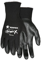 Memphis MCR Safety N9674 Ninja X -15 Gauge black bi-polymer palm and fingertips, 12-Pairs