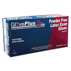 GlovePlus GPLHD8 Blue Latex Exam Powder Free Disposable Gloves (Case of 500)