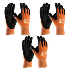3 Pack MaxiFlex Ultimate 34-874 Hi-Vis Orange Ntrile Grip Work Gloves, Sizes Small - X-Large