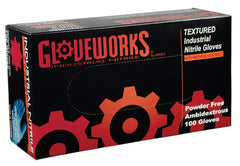 AMMEX - INPF42100 - Nitrile Gloves - Gloveworks - 100/Box, Disposable, Powder Free, Industrial Grade, 5 mil, Blue, (Case of 1000) Sizes (S-XXL)