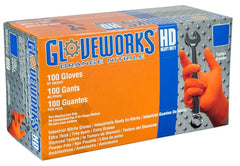 AMMEX - GWON48100 - Nitrile Gloves - Gloveworks - Heavy Duty, Disposable, Powder Free, Latex Rubber Free, 8 mil, Orange (Case of 1000) Sizes (S) (M) (L) (XL) (XX-L)