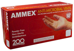AMMEX - AAMV - Vinyl Disposable Gloves- Anti-Microbial, Powder Free, Latex Free, Industrial Grade, 3 mil, Clear (Case of 2000) Sizes (S) (M) (L) (XL)