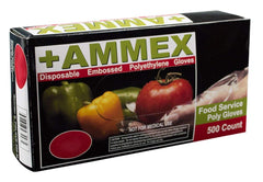 AMMEX - PGLOVE -500 - Poly Gloves - Disposable, Food Service, 1 mil, Clear (Case of 2000) (Mastercase of 10000) (Small, Medium, Large)