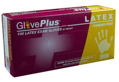AMMEX - GPPFT - Latex Gloves - GlovePlus - Disposable, Powder Free, Exam, 4 mil, White (Case of 1000), Sizes (XS) (S) (M) (L) (XL)
