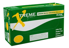 AMMEX - XNGPF42100 - Nitrile Gloves - Xtreme - Disposable, Powder Free, Industrial, 4 mil, Green (Case of 1000)