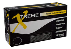 AMMEX - XNPF42100 - Nitrile Gloves - Xtreme - Disposable, Powder Free, Latex Rubber Free, Industrial, 4 mil,Blue (Case of 1000)