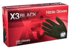 AMMEX - BX344100 - Nitrile Gloves - Disposable, Powder Free, Latex Free, 3 mil, Food Safe, Medium, Black(Case of 1000)