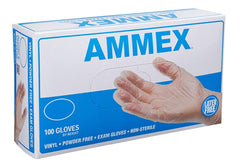 AMMEX - VPF62100 - Medical Vinyl Gloves - Disposable, Powder Free, Latex Rubber Free, Exam, 4 mil, Clear (Case of 1000)