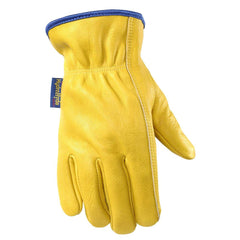 Water Resistant Leather Work Gloves, Grain Cowhide, Palm Patch, HydraHyde Technology, 1201