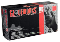 AMMEX - GWBN44100 - Nitrile Gloves - Gloveworks - HD, Disposable, Powder Free, Latex Rubber Free, 6 mil, Black (Case of 1000) Sizes (M-XXL)