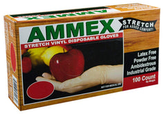 AMMEX - IVSPF42100 - Stretched Vinyl - GlovePlus - Disposable, Powder Free, 4 mil, Clear (Case of 1000) Sizes (S-XL)