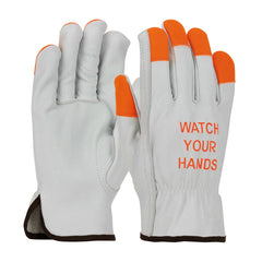 "PIP 68-162HV Top Grain Cowhide Leather Drivers Hi-Vis Fingertips and ""Watch Your Hands"" Logo Gloves(One Dozen)"