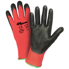 West Chester 701CRNF Zone Defense Red Nylon Shell with Black Nitrile Foam Palm Coat Gloves (One Dozen)