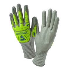 West Chester 710HGUBHVG Gray PU Palm Coated Speckle Gray HPPE With Gray BOH & HI VIS GREEN FINGER TPR Protection Gloves (One Dozen)
