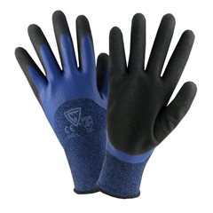 West Chester 713BLDD Blue Polyester Shell W/ 3/4 Blue Flat Latex and Second Coating w/ Foam Sandy Latex Gloves (One Dozen)