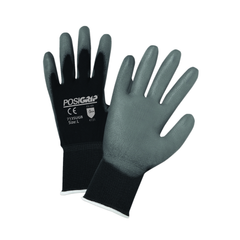 West Chester 713SUGB PosiGrip Gray PU Palm Coated Black Nylon Gloves (One Dozen)