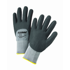 West Chester 715SNFTKD PosiGrip Black Foam Nitrile 3/4 Dip on Gray Nylon Shell with Dotted Palm Gloves (One Dozen)