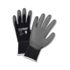 West Chester 715SUGB PosiGrip Gray PU Palm Coated Black Nylon Gloves (One Dozen)