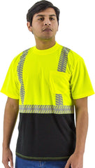 Majestic 75-5215 Birdseye Yellow Mesh T-Shirt ANSI 2 Black Bottom