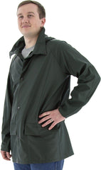 M-Safe PU Rainwear, Flexible Jacket w/ Hood Snaps, Green	| Majestic 74820GA