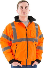 High Visibility Waterproof Jacket With Fleece Liner, Ansi 3, R - Majestic 75-1302