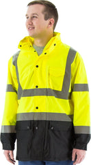 Majestic 75-1305 High Visibility Waterproof Rain Jacket with Nylon Mesh Liner, Yellow, Ansi 3, R