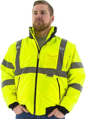 Majestic 75-1381 High Visibility 8-IN-1 Waterproof Jacket With High Visibility Liner, Ansi 3, R