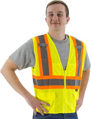 Majestic 75-3209 High Visibility With Dot Striping Mesh Safety Vest, ANSI 2, R