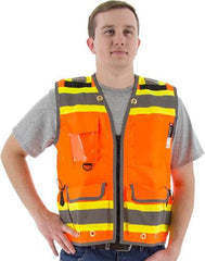 Majestic 75-3236 High Visibility With Two-Tone Dot Striping Heavy Duty Surveyors Safety Vest , ANSI 2