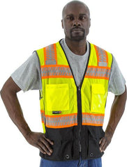 Majestic 75-3239 High Visibility  With Dot Reflective Chainsaw Striping Mesh Safety Vest, Ansi 2, R