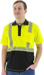 High Visibility Short Sleeve Polo With Reflective Chainsaw Striping, Ansi 2, R - Majestic 75-5213