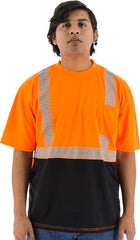 High Visibility Short Sleeve Shirt With Reflective Chainsaw Striping, Ansi 2, R - Majestic 75-5216