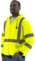 High Visibility Hooded Sweatshirt With Zipper Closure, Ansi 3, R - Majestic 75-5323