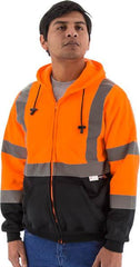 High Visibility Hooded Sweatshirt With Zipper Closure, Ansi 3, R - Majestic 75-5326