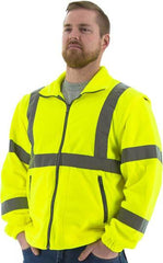 Majestic 75-5381 High Visibility Yellow And Liner Fleece Jacket, Ansi 3, Type R