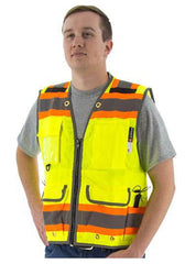 Majestic 75-3235 High Visibility  With Two-Tone Dot Striping Heavy Duty Surveyors Safety Vest, Ansi 2, R