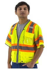 Majestic 75-3325 High Visibility With Two-Tone Dot Striping And D-Ring Pass Thru Safety Vest, Ansi 3, R