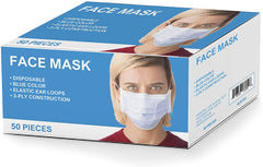ELM100 Latex Free Disposable 3 Ply Ear Loop Face Mask Box of 50