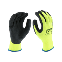 West Chester HVG700SLC PosiGrip Black Crinkle Latex Palm Coated Green Hi Vis Gloves (One Dozen)