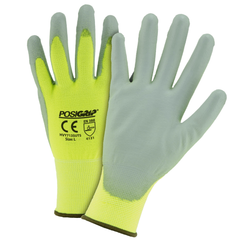 West Chester HVY713SUTS PosiGrip Touch Screen Hi Vis Yellow PU Palm Coated Polyester Gloves (One Dozen)