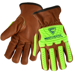 West Chester KS993KOAB Oil Armor Finish Goat Driver w/ Cut Lining and Bumpers Gloves (One Pair)
