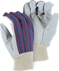 Split Cowhide Palm Knit Wrist Gloves Majestic 1524  (One Dozen)
