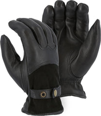 Majestic 1546T Winter Lined Deerskin with Reversed Back and Leather Strap Gloves (One Dozen)