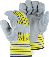 Majestic 2501C Split Cowhide Palm Knuckle Strap Rubberized Safety Cuff Gloves (One Dozen)