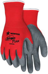 15 Gauge Red Nylon Shell, Gray Latex Palm and Fingers Gloves Ninja N9680 (One Dozen)