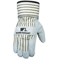 Wells Lamont 4000 Leather Work Gloves with Safety Cuff, Suede Palm,12 Pairs