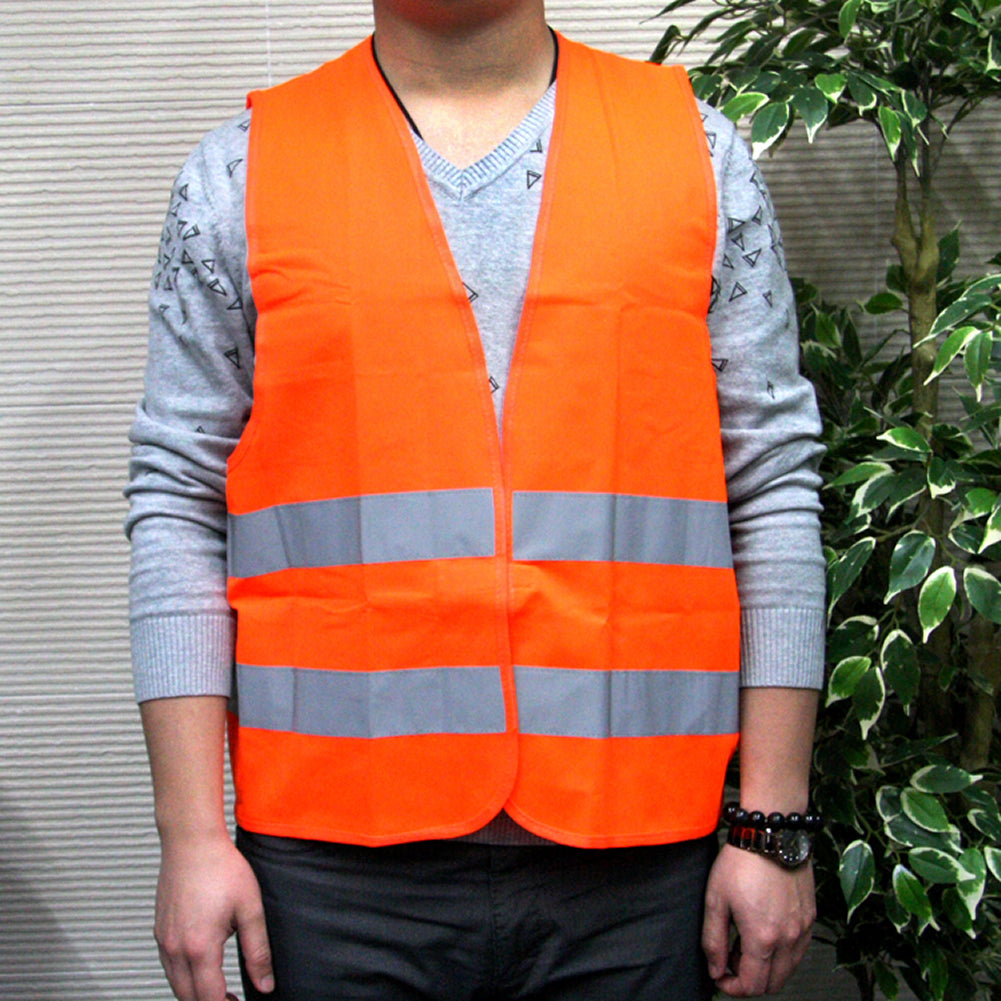 JINGJINGOLD New 100% Polyester Multifunctional Reflective Safety Vest Orange High Visibility Vest - TIROL LTD