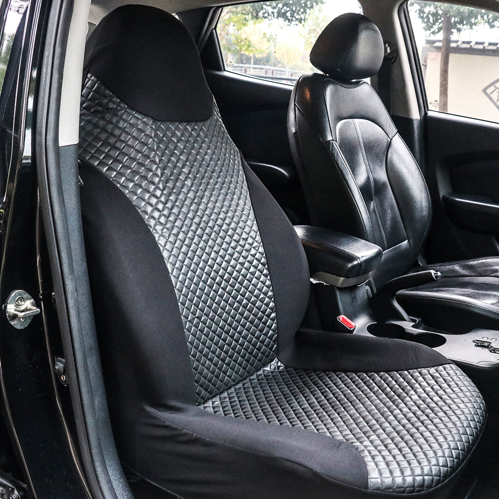Tirol Auto Front Seat Cover PU Leather Single High Back Bucket Auto Seat Cover Universal Black Car Seat Protector