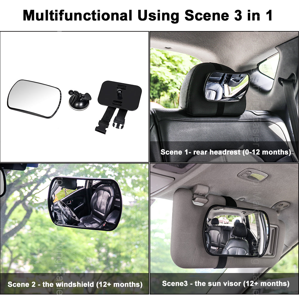 Tirol Adjustable 3 in 1 Car Baby Mirror 360° Rotating Wide View on Windshield Sun Visor or Rear Seat Headrest For Safety
