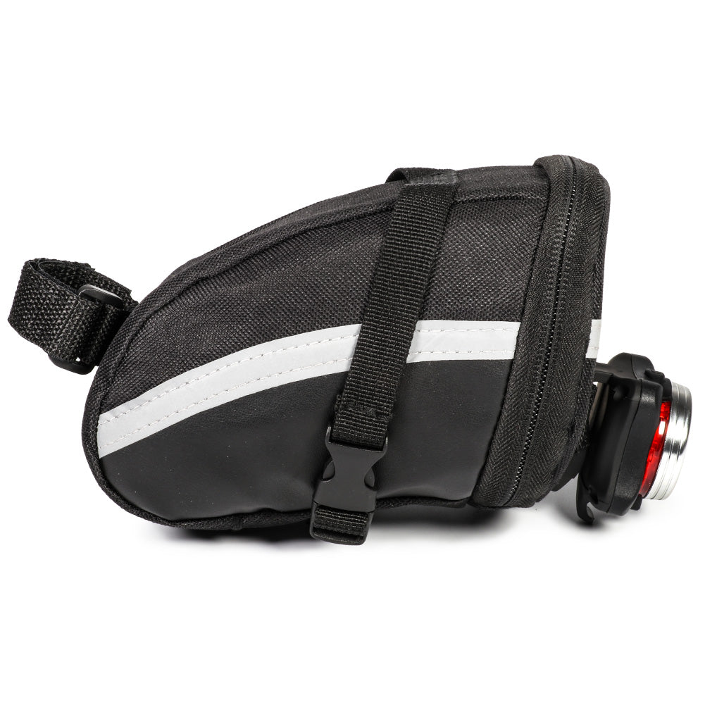 JINGJINGOLD Cycling Saddle Bag With Rear LED Bicycle Red Light Bike PU Leather Tail Bag Outdoor Cycling Accessories